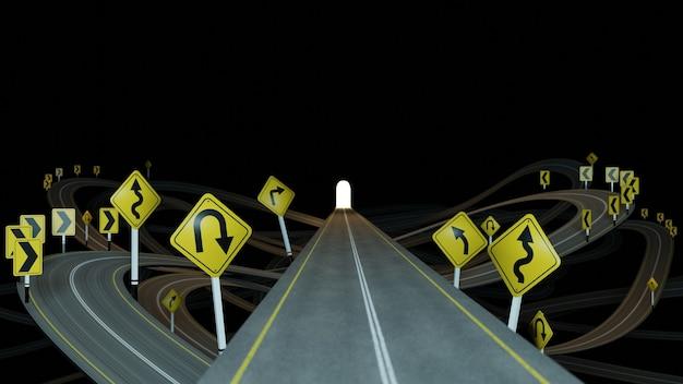 曲がりくねった道路と黒い背景に多くの交通標識がある直線道路を3dレンダリング