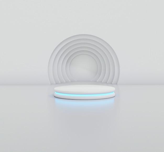 기하학적 모양이 있는 3d 렌더링 스튜디오, 바닥에 연단. 제품 프레젠테이션을 위한 플랫폼, 배경을 조롱합니다. 최소한의 디자인으로 추상적인 구성입니다.