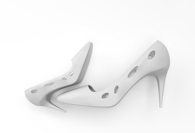 3d 렌더링 색상 배경의 높은 언덕에 있는 세련된 클래식 여성용 신발.