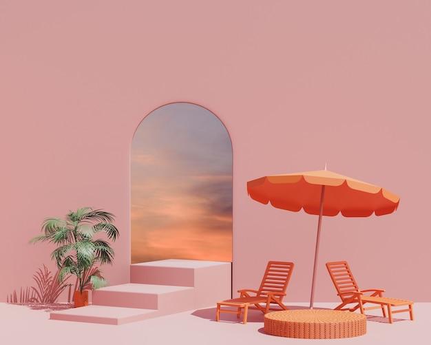 3d render  summer scene minimal design product display   interior background with sunset sky