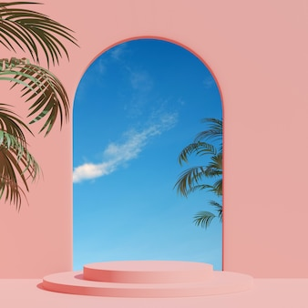 3d render summer scene minimal  product display  pink interior background with sky and plant