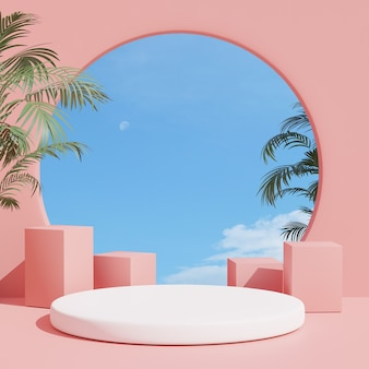 3d render summer scene minimal product display  pink interior background with sky and summer plant