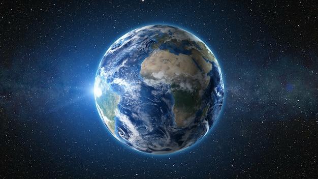 3dレンダリング:惑星地球上の宇宙からの日の出ビュー