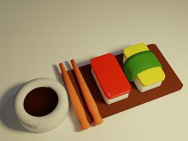3d визуализация суши с палочками для еды на белом фоне