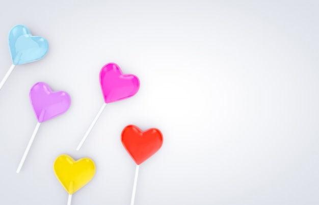 3d render. sweet valentine's day heart shape lollipop candy on white isolated background.