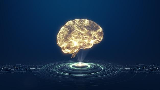 3d визуализация технологии искусственного интеллекта золотой мозг концепции цифровых данных.