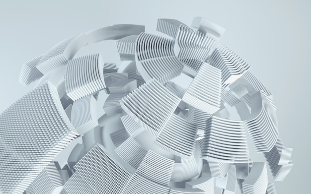 3d визуализация технологии фон. абстрактная форма в движении.