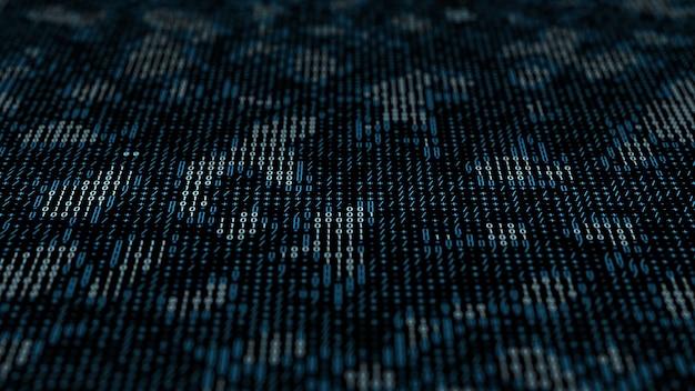 数字とテキスト文字で作られた3dレンダリング技術の背景。バイナリコード。