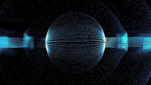 3d 렌더링 기술 부분 배경입니다. 중앙에 구 형태가 있는 추상 입자 형태입니다.