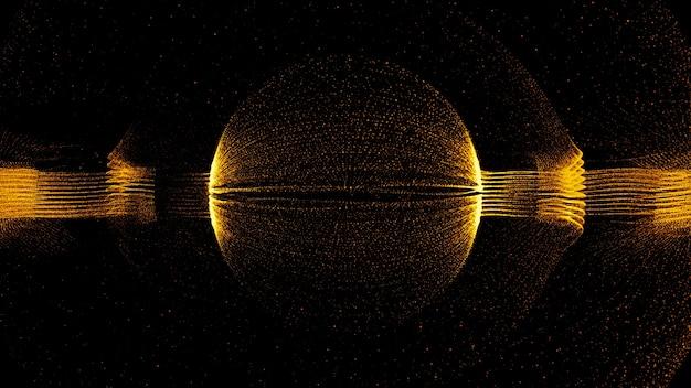 3dレンダリング技術の部分的な背景。中心に球形の抽象的な粒子形。