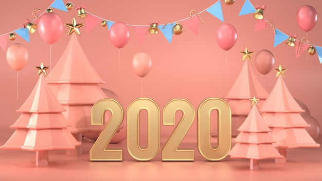 3d render of text 2020 decorate with christmas trees and garlands