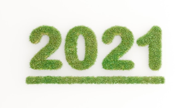3d render of text green grass on happy new year 2021