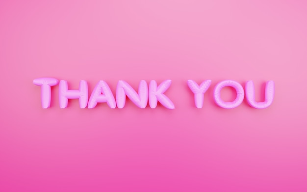 3d render thank you foil balloons letters