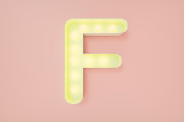 3d визуализация. заглавная буква f с лампочками.