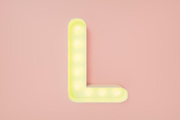 3d визуализация. заглавная буква l с лампочками
