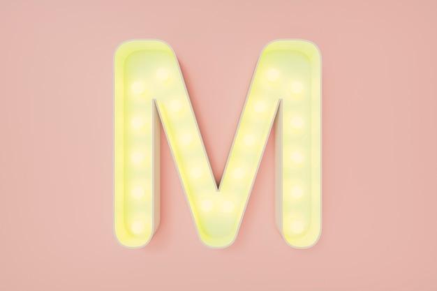 3d визуализация. заглавная буква м с лампочками