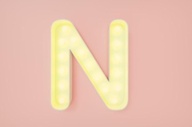 3d визуализация. заглавная буква n с лампочками