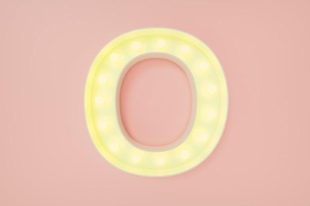 3d визуализация. заглавная буква o с лампочками
