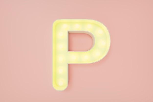 3d визуализация. заглавная буква p с лампочками