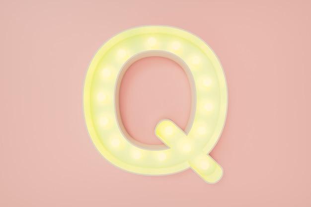 3d визуализация. заглавная буква q с лампочками