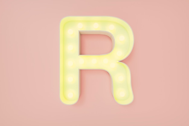 3d визуализация. заглавная буква r с лампочками