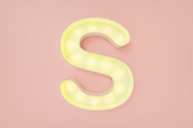 3d визуализация. заглавная буква s с лампочками
