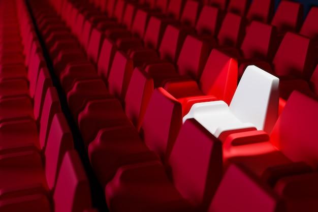 3d 렌더링 빨간색 만화 부드러운 의자와 극장에서 흰색 의자 하나의 동일한 행. 의자가있는 네온 아름다운 영화관의 개념