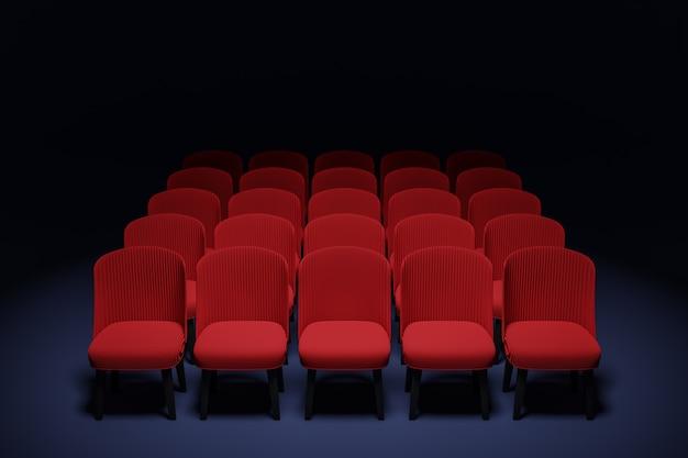 3d 렌더링 극장에서 빨간색 만화 부드러운 의자의 동일한 행. 의자가있는 아름다운 영화관의 개념