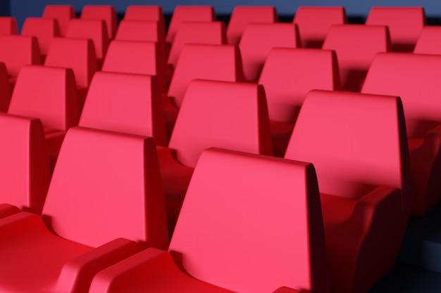 3d визуализация тех же рядов красных мультипликационных мягких стульев в театре. концепция неонового красивого кинотеатра со стульями