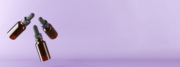 3d render of three flying amber glass bottles for oils. . high quality 3d illustration
