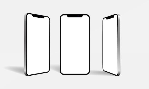 3d render three smartphone mockups on white background