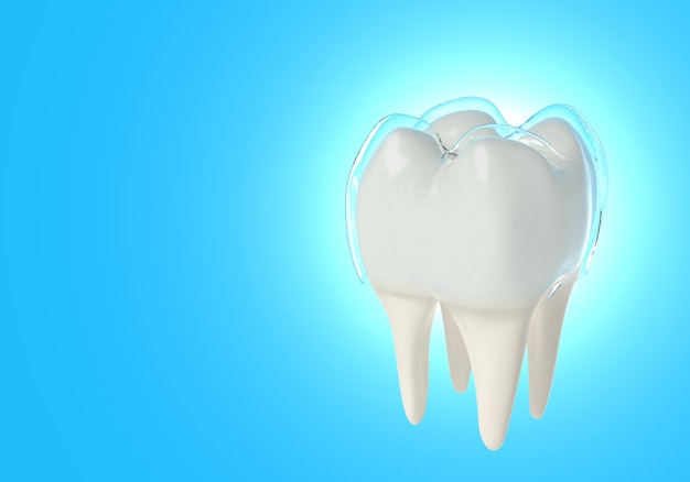3d render tooth with crown