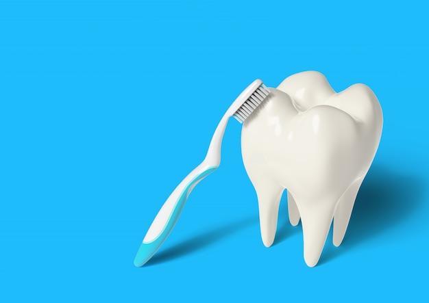 3d render toothbrush cleaning teeth