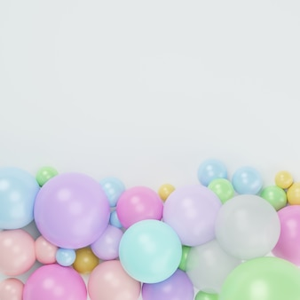 3d render top view of colorful pastel on white background with copy space.