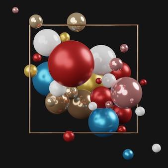 白い背景を持つボックス内を含むカラフルなパステルボールの3 dレンダリングのトップビュー。