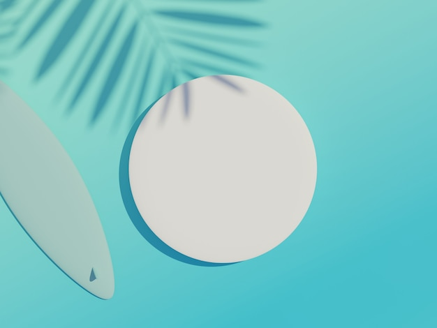 흰색 빈 실린더 프레임의 3d 렌더링 평면도