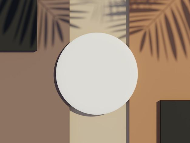 야자수 잎의 그림자가 있는 제품을 조롱하고 표시하기 위한 흰색 실린더의 3d 렌더링 상단 보기