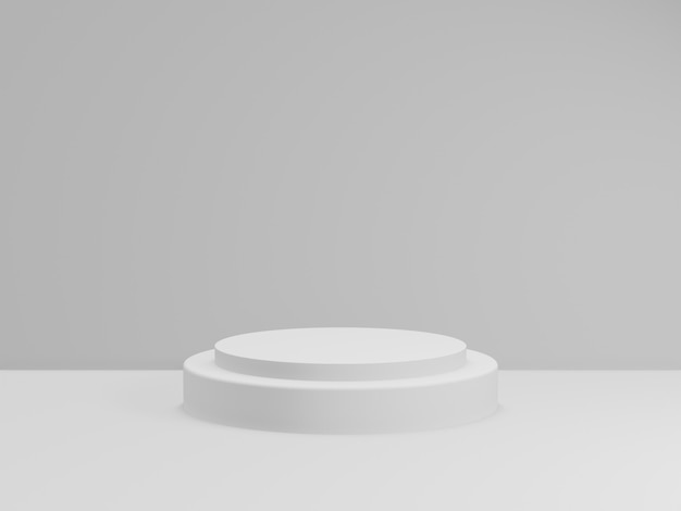 3d render of total white podium for product. mockup stage.