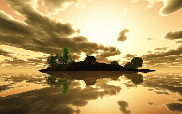 3d визуализации спокойного острова на закате