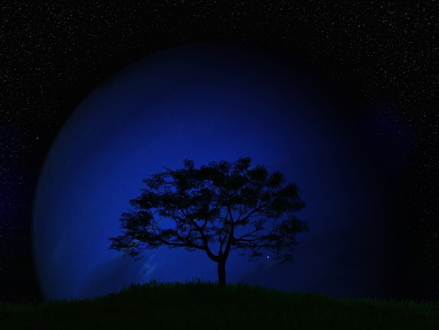 3d render of a tree landscape against a fictional planet in a night sky
