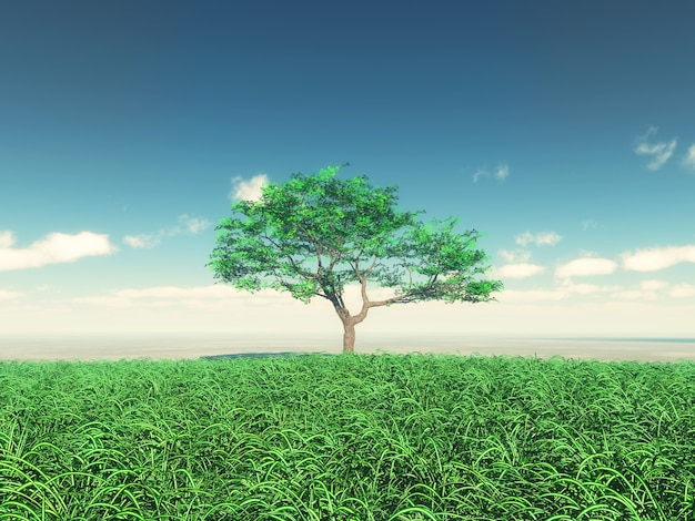 3d render of a tree in sunny landscape