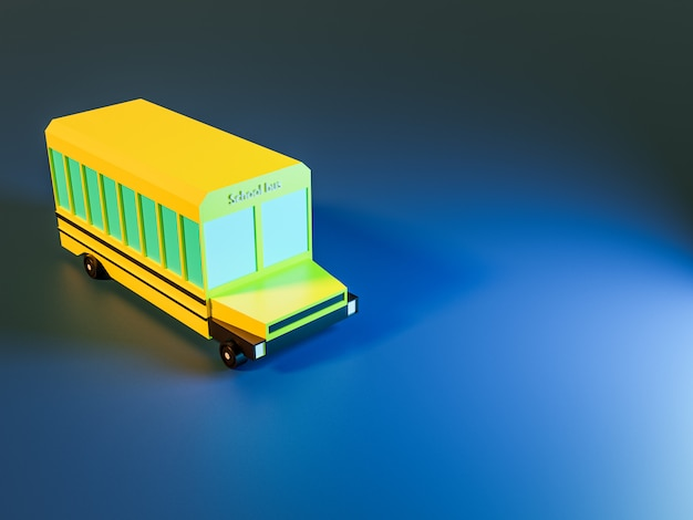 3d render of trees and school bus on blue background in neon colors. back to school concept