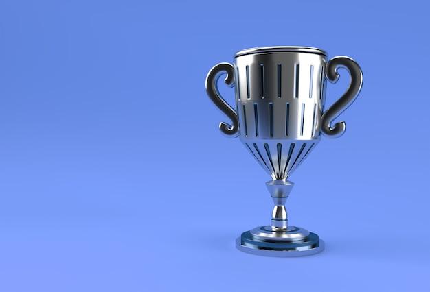 Кубок трофея 3d визуализации, изолированные на цветном фоне.