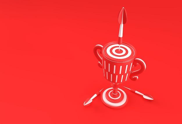 3d render trophy cup со стрелкой, попадающей в центр цели. метафора достижения. изолированные на цветном фоне.