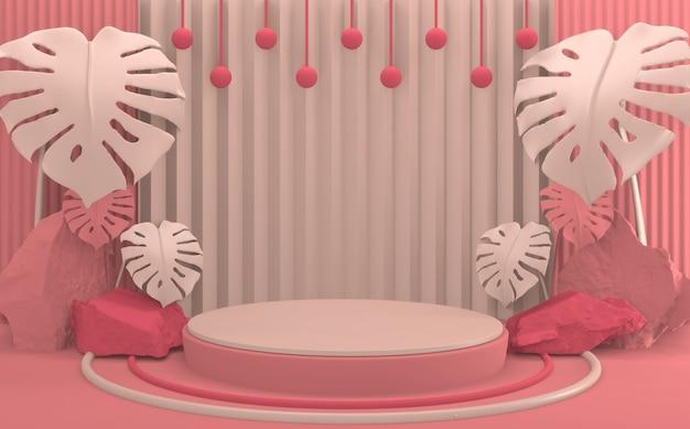 3d 렌더링 열 대 추상 발렌타인 핑크 연단 최소한의 디자인 제품 장면.