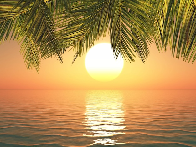 3d render of a tropical landscape at sunset