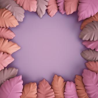 3 dレンダリング、紫色の背景にピンク色の熱帯の葉