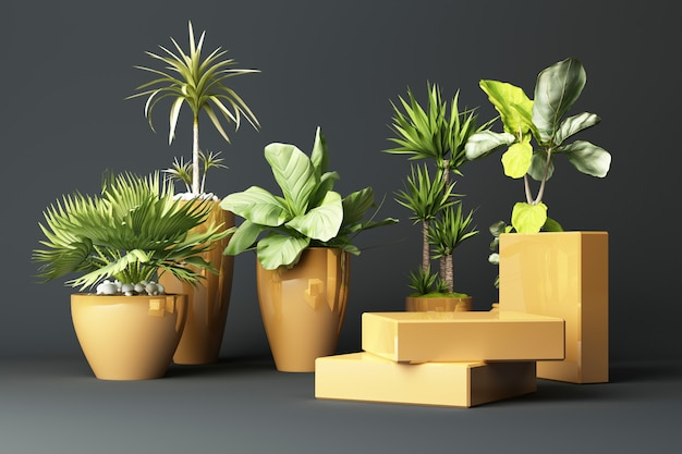 3d render of tropical plants isolated on grey