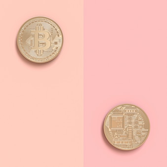 3d render of two bitcoin coins in double sided