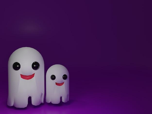 보라색 배경에서 3d 렌더링 두 유령